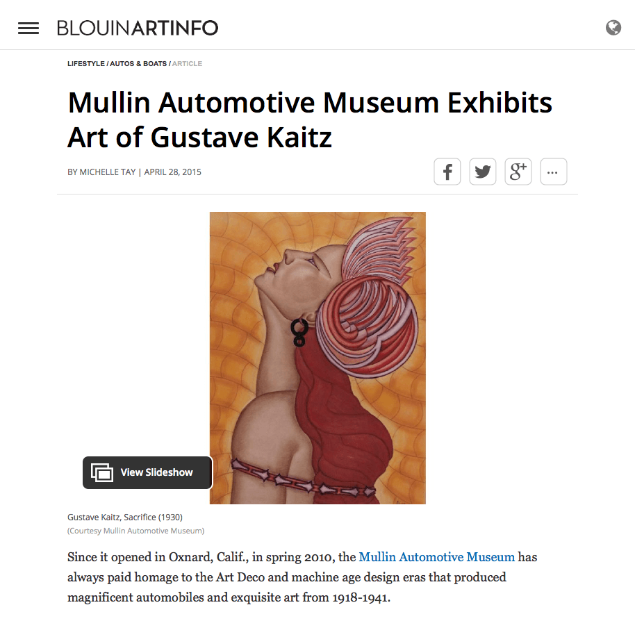 Blouin Art Info Article -Mullin Automotive Museum Exhibits Gustave Kaitz