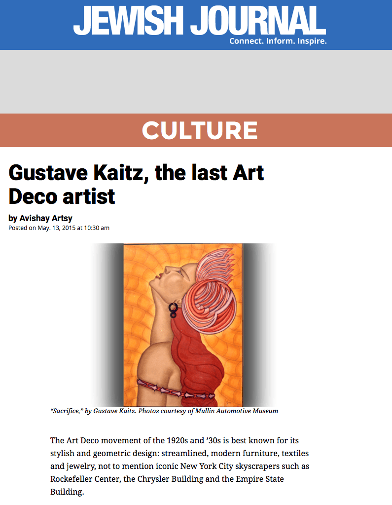 Jewish Journal Gustave Kaitz Article -The Last Art Deco Artist